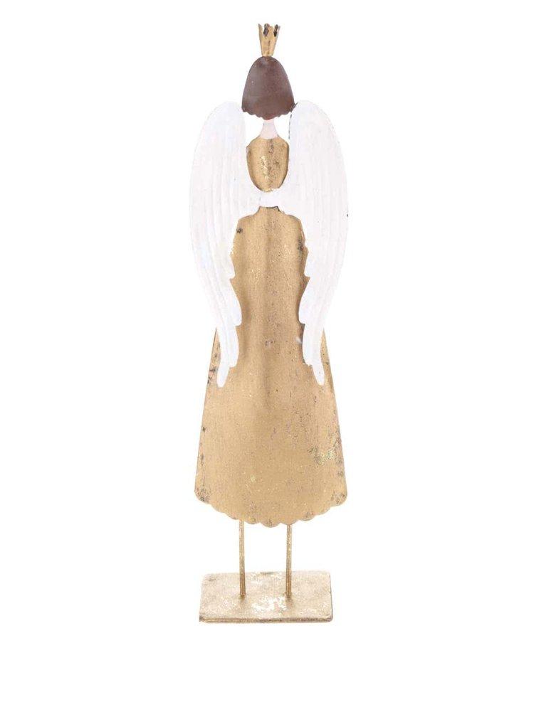 Vyššia kovová soška anjela v zlatej farbe CGB