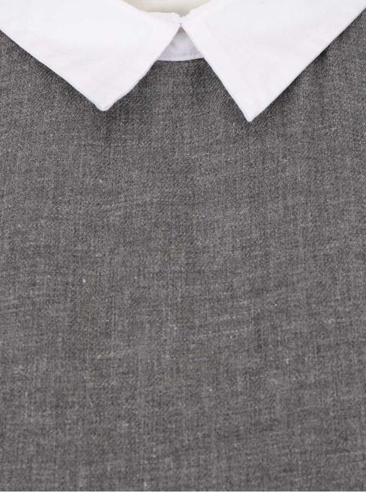 Sivá melírovaná dlhšia blúzka s bielymi detailmi ONLY Saki