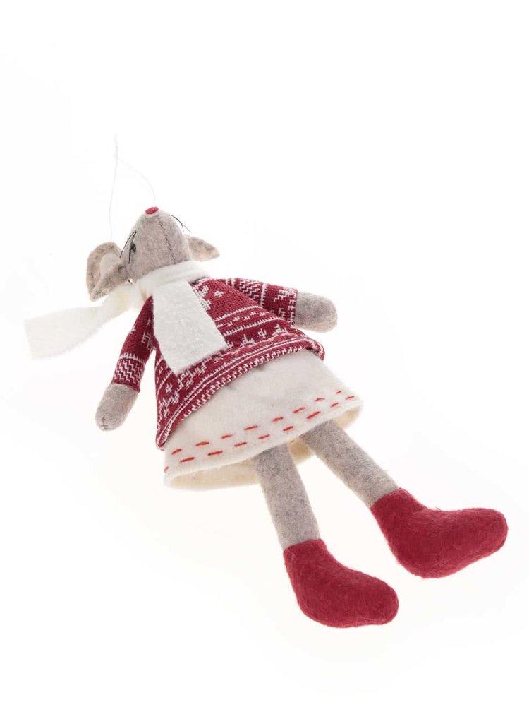 Červená vánoční ozdoba s myškou  CGB