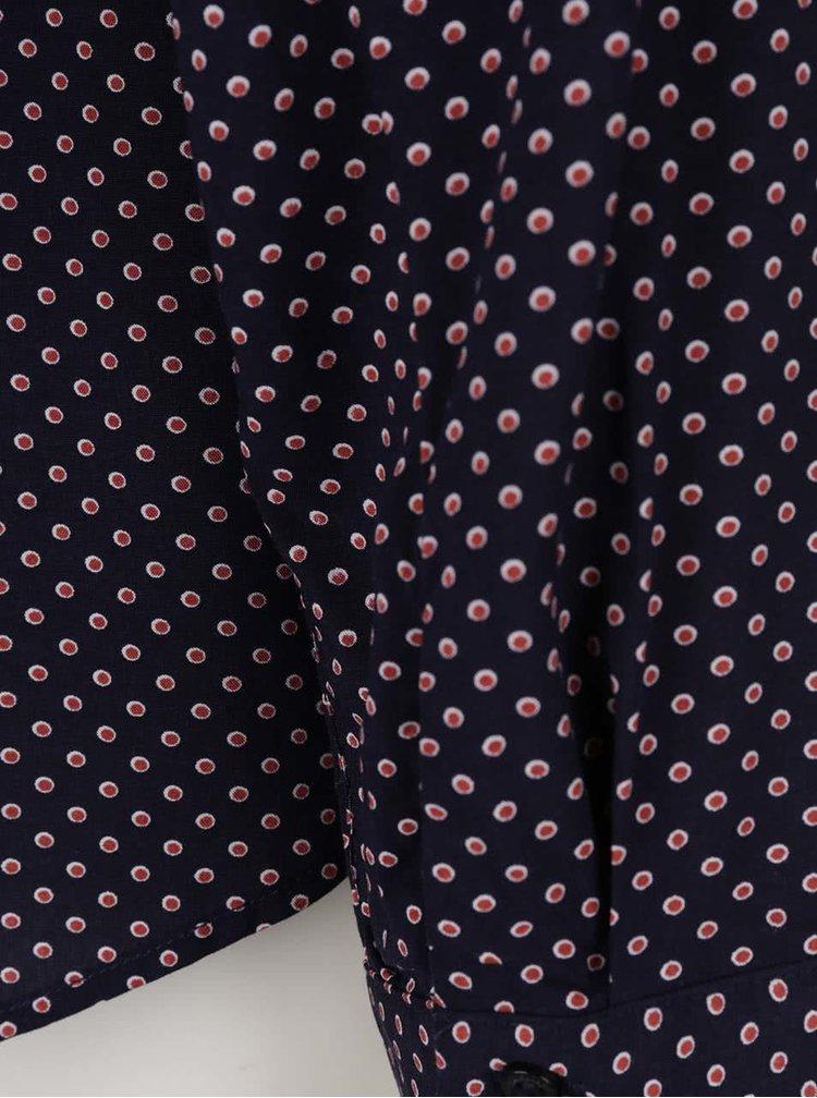 Tmavě modrá dámská vzorovaná košile s vázankou Broadway Riece