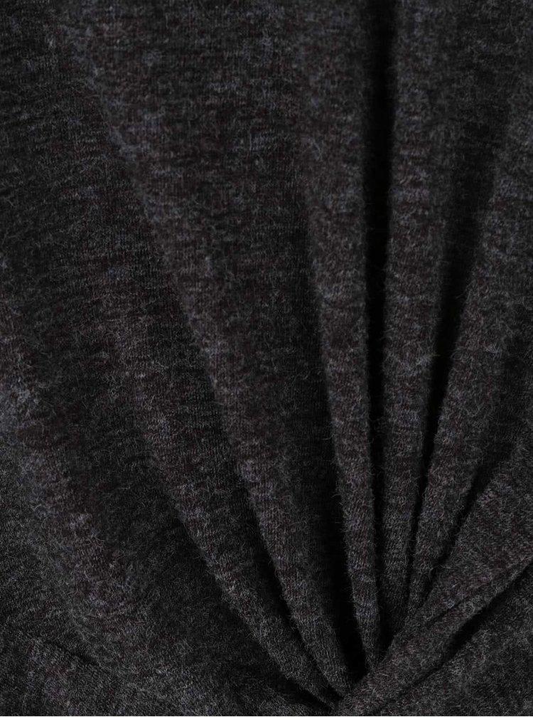 Tmavosivé dámske melírované tričko s dlhým rukávom Broadway Ophelia