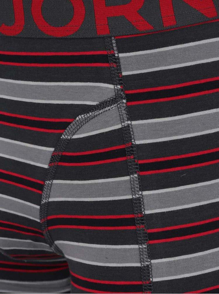 Sada dvou vzorovaných boxerek v červeno-šedé barvě Björn Borg