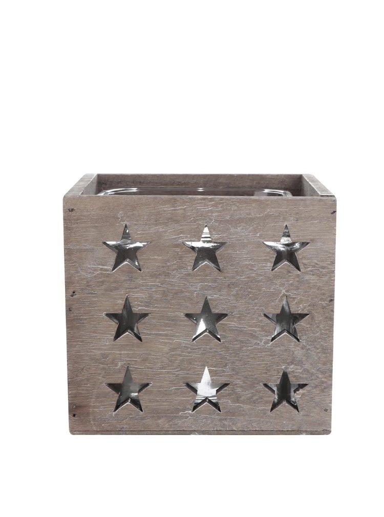 Hnědý dřevěný svícen s hvězdami Dakls