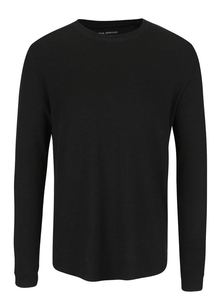 Čierne tričko s jemným vzorom ONLY & SONS Karl