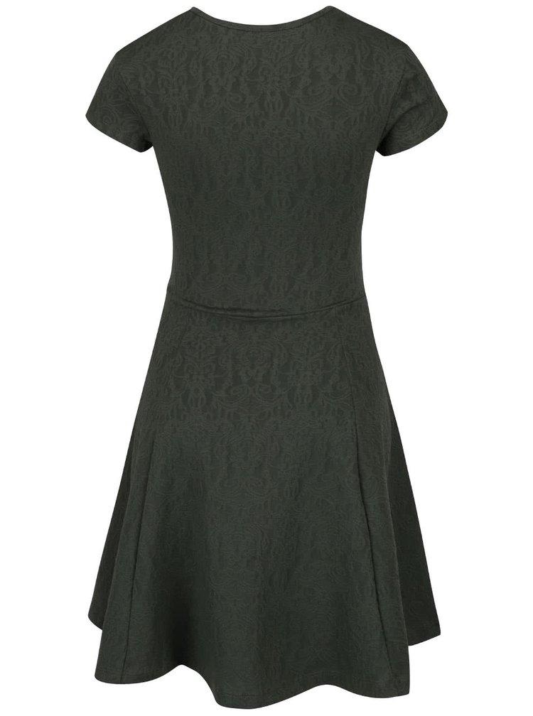 Tmavě zelené šaty s jemným vzorem ZOOT