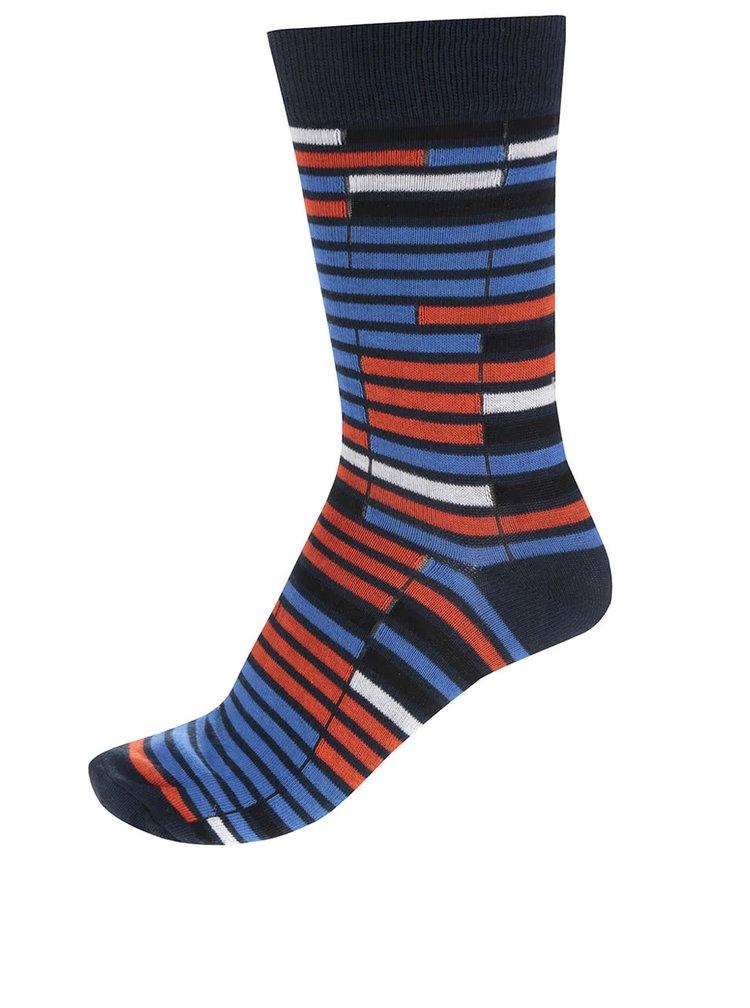 Súprava štyroch párov tmavomodrých a oranžovo-modrých ponožiek Jack & Jones Christian