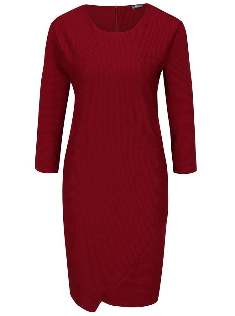 Vínové žebrované šaty s 3/4 rukávy ZOOT