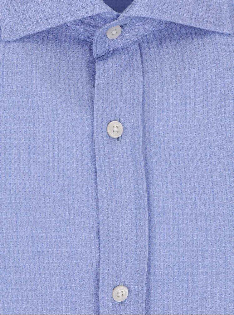 Cămașa albastră Jack & Jones Ethan slim fit din bumbac cu model discret
