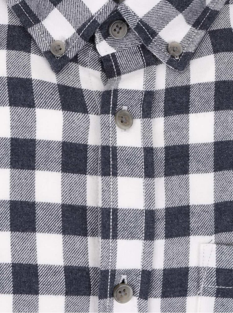 Krémovo-modrá kostkovaná slim košile Jack & Jones William