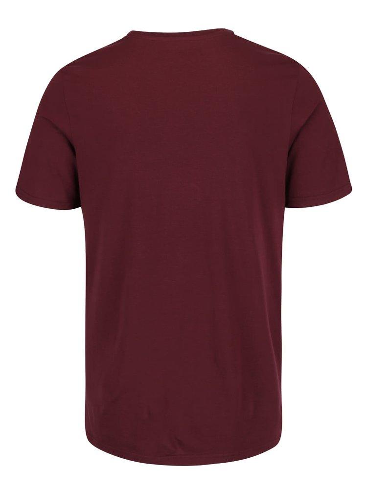 Vínové triko s potiskem Jack & Jones Folsom