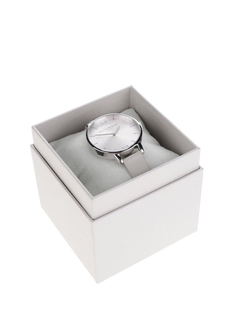 Hodinky ve stříbrné barvě s šedým koženým páskem Olivia Burton