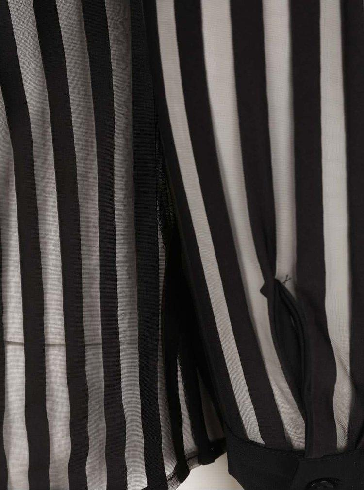 Černá košile s průsvitnými pruhy TALLY WEiJL