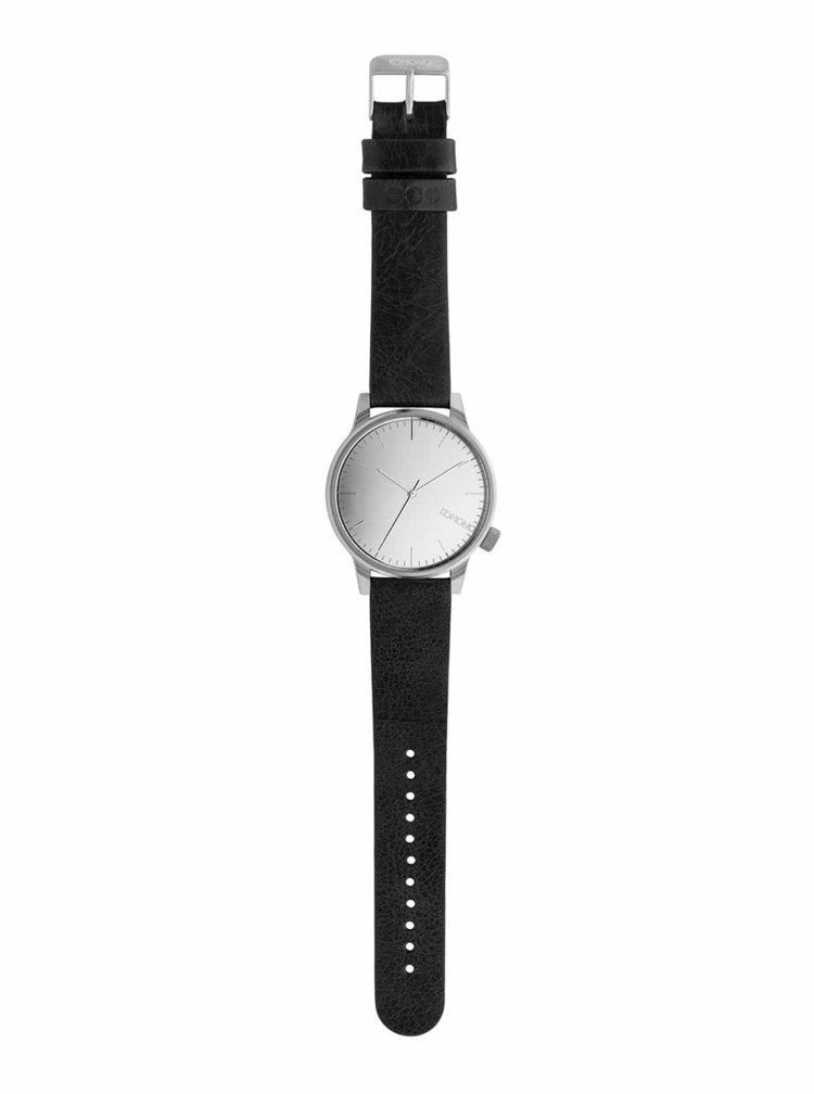 Unisex hodinky ve stříbrné barvě s koženým páskem Komono Winston Mirror