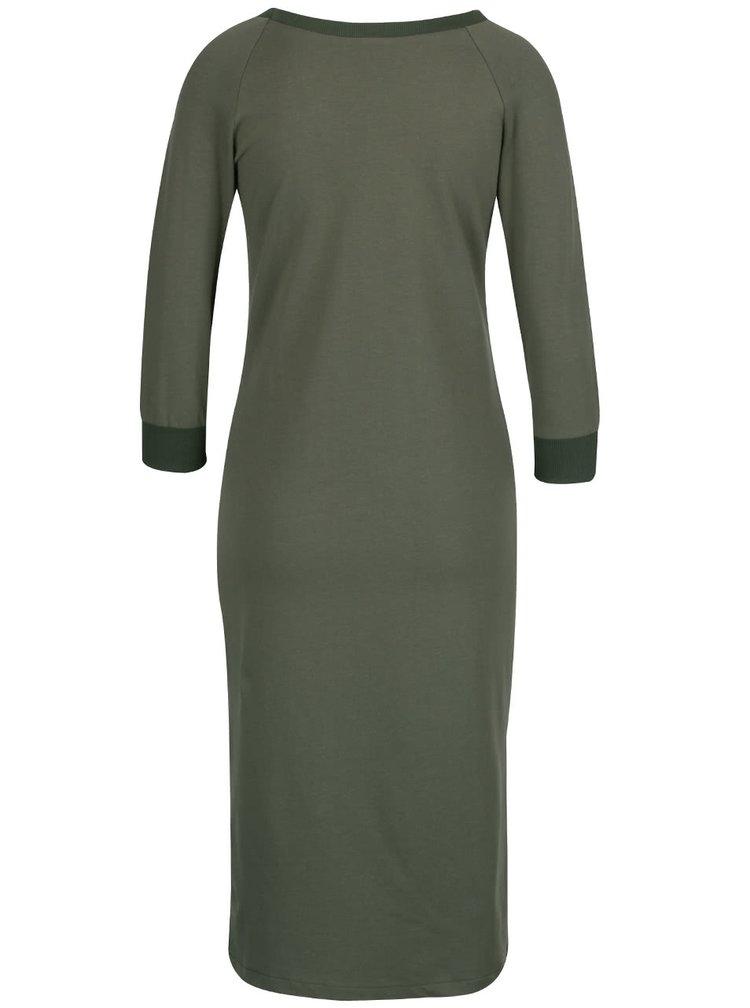 Khaki elastické šaty s 3/4 rukávy a rozparkem  ZOOT