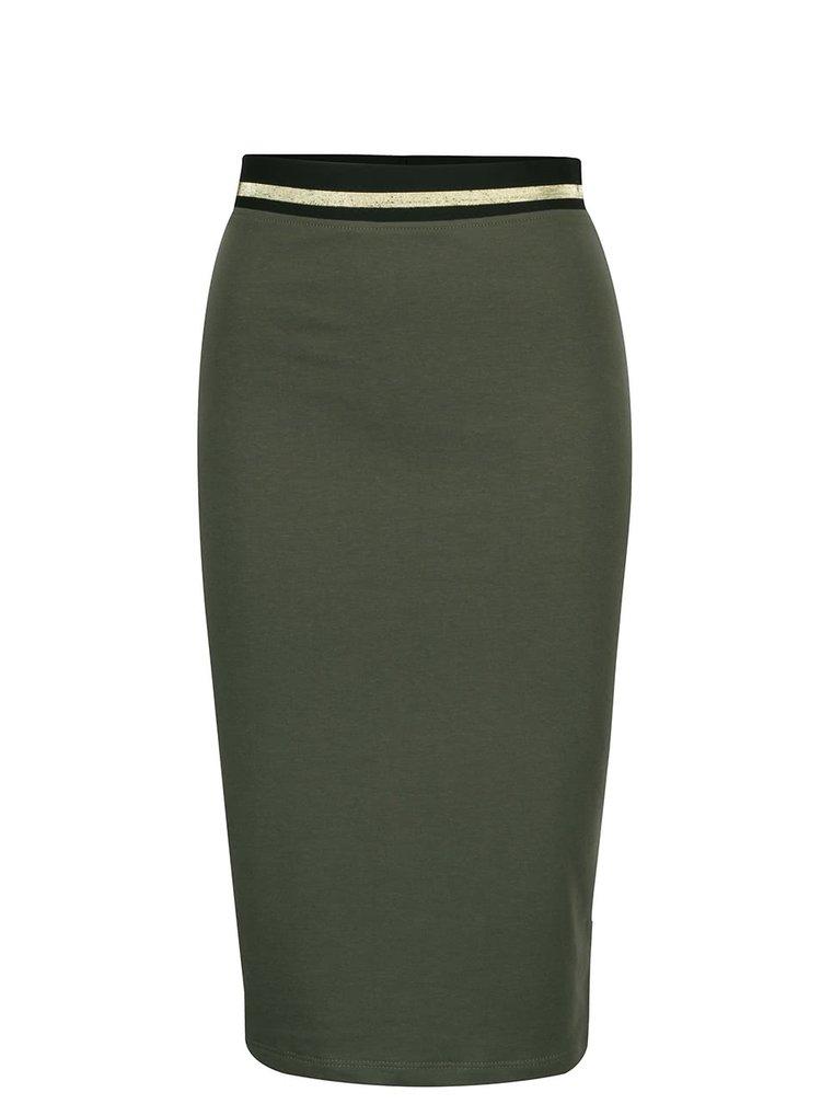 Kaki priliehavá sukňa s pružnou gumou v páse ZOOT