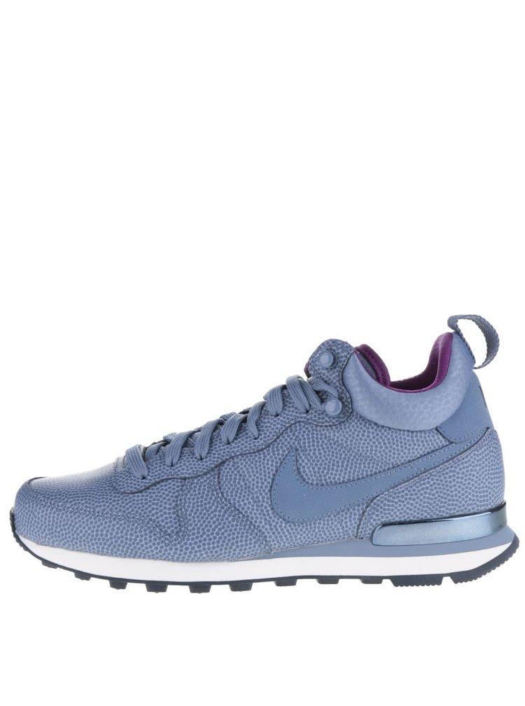 Pantofi sport albaștri Nike Internationalist Mid Leather din piele cu imprimeu pentru femei