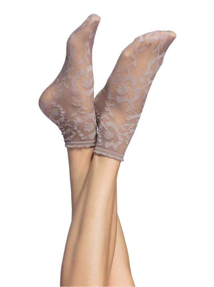 Béžové silonkové ponožky s kvetinovým vzorom Oroblu Lorelie