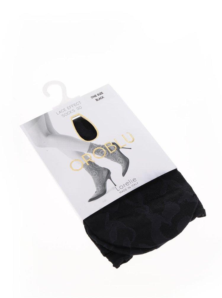 Čierne silonkové ponožky s kvetinovým vzorom Oroblu Lorelie