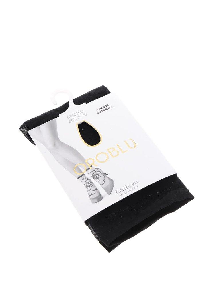 Čierne ponožky s kvetinovým vzorom Oroblu Kathryn