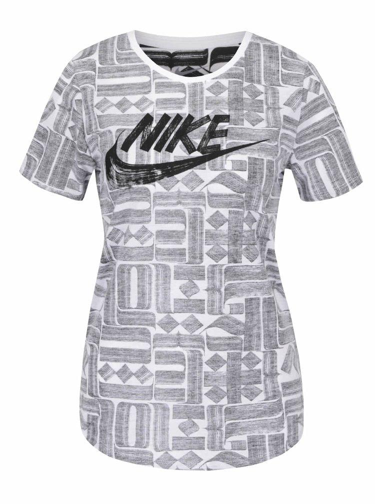 Tricou gri & crem Nike cu imprimeu pentru femei