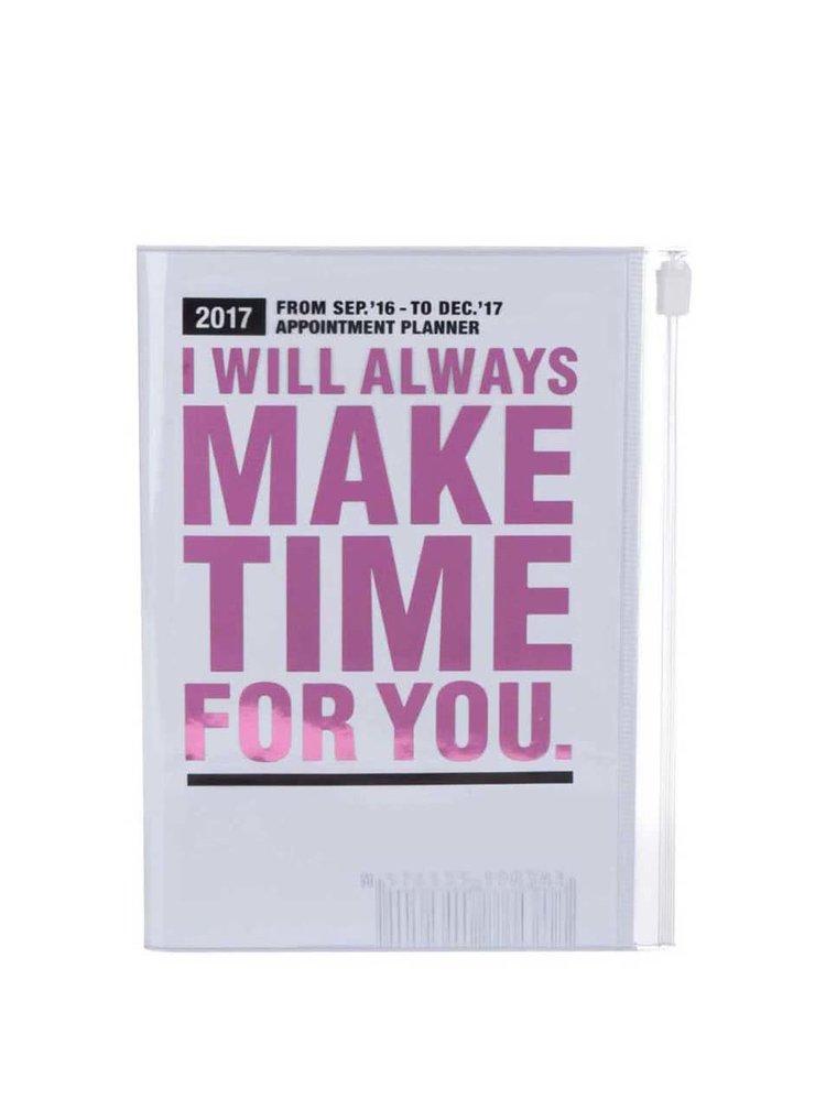 Růžovo-bílý diář 2017 A6 Mark's MAKE TIME