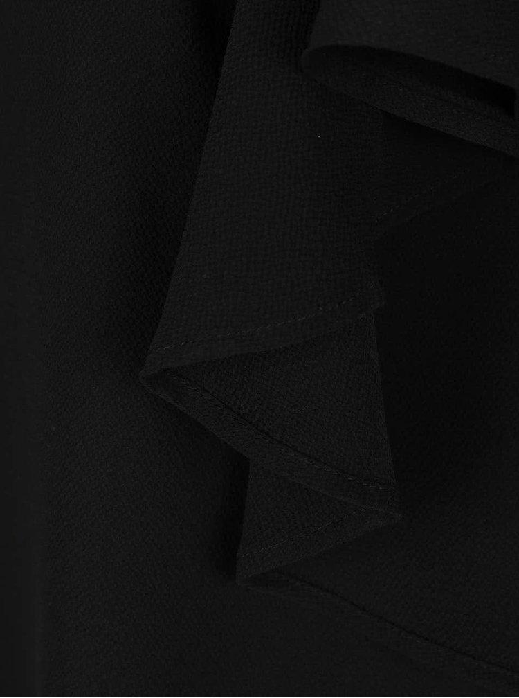 Čierna blúzka s volánmi a prestrihmi na ramenách AX Paris