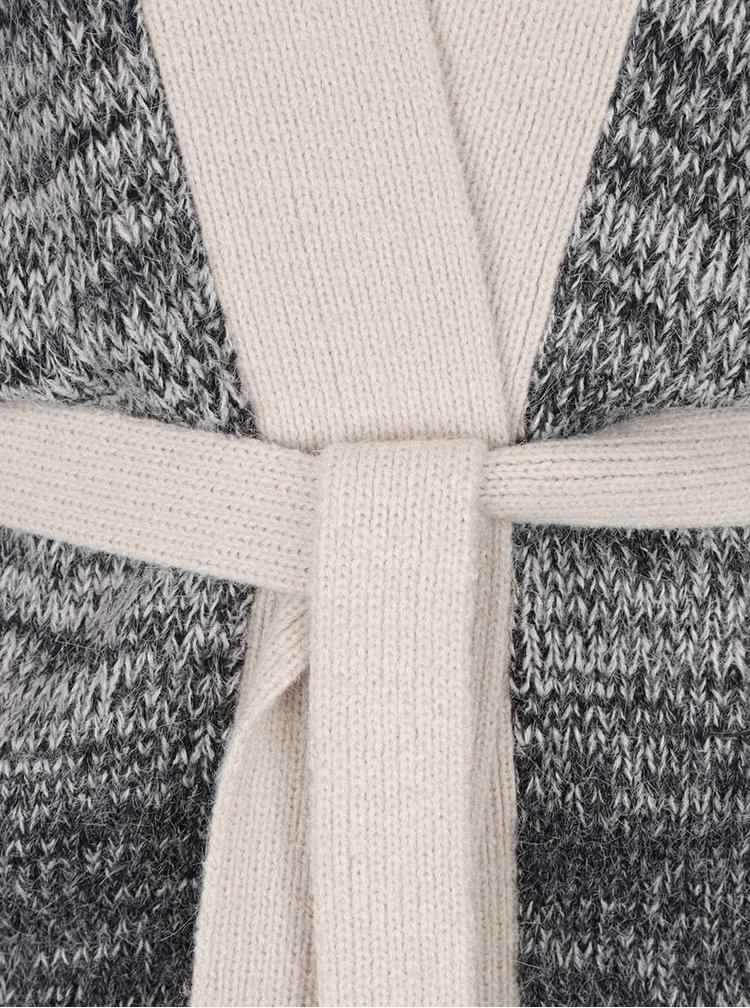Tmavě šedý žíhaný kardigan s 3/4 rukávy VERO MODA Copenhagen