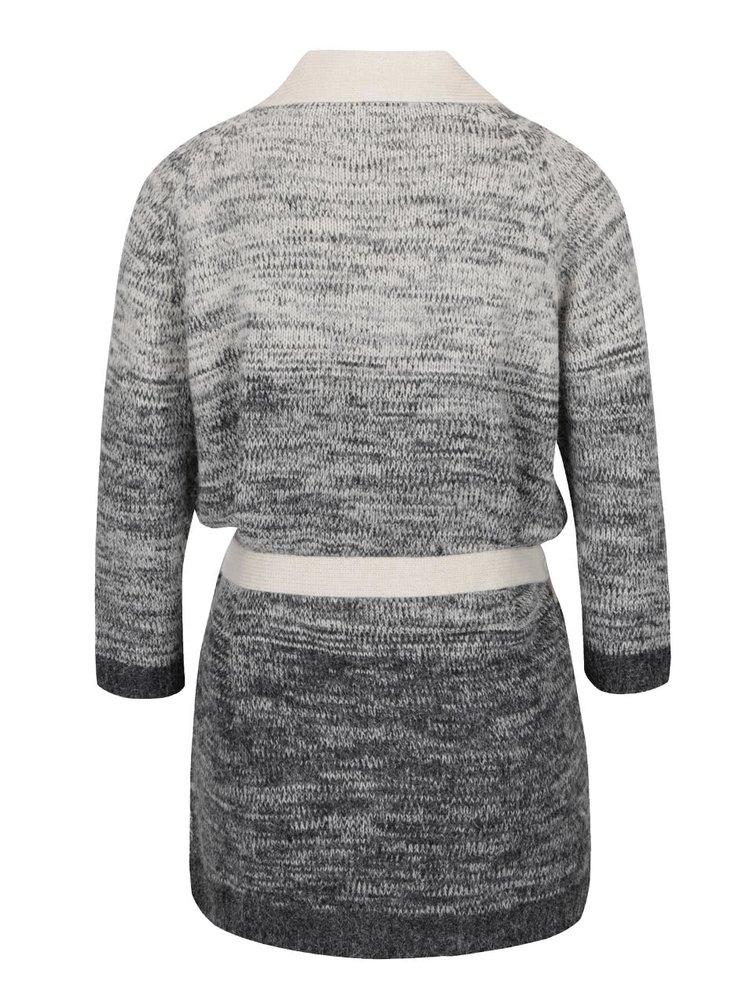 Tmavě šedý žíhaný cardigan s 3/4 rukávy VERO MODA Copenhagen