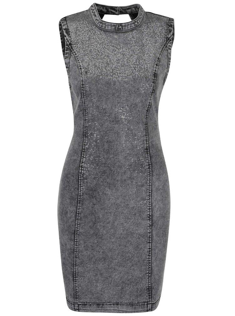 Sivé krátke rifľové šaty s trblietavou aplikáciou VERO MODA Shine