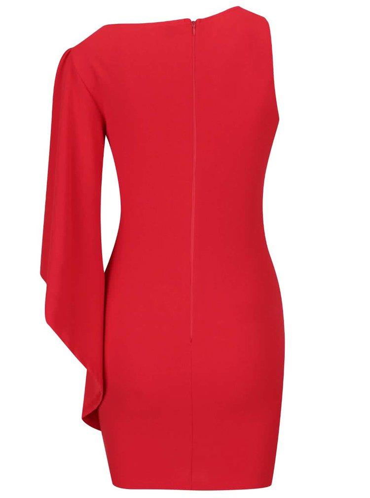 Červené asymetrické šaty se zvonovým rukávem AX Paris