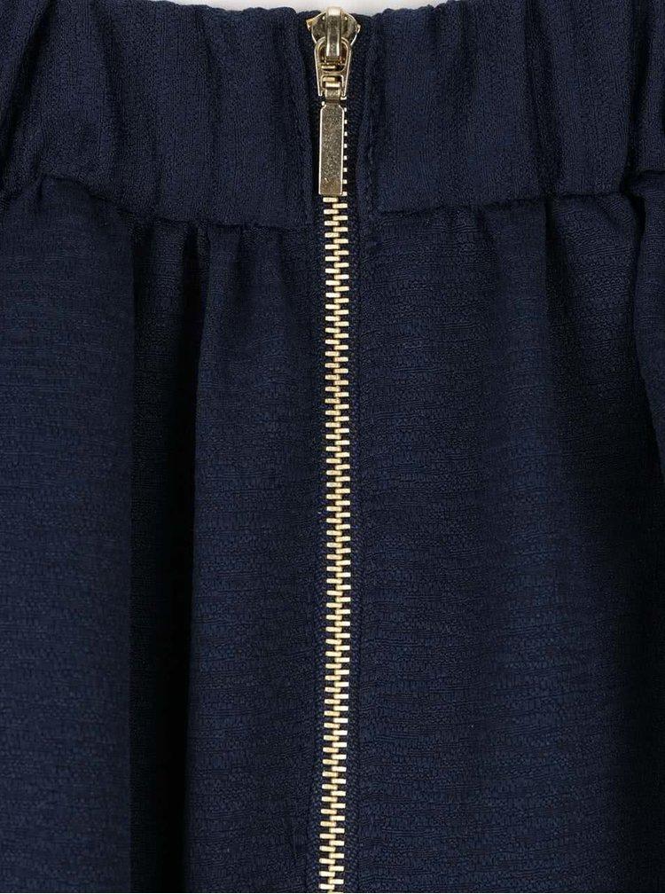 Tmavě modrá překládaná sukně VERO MODA Lea