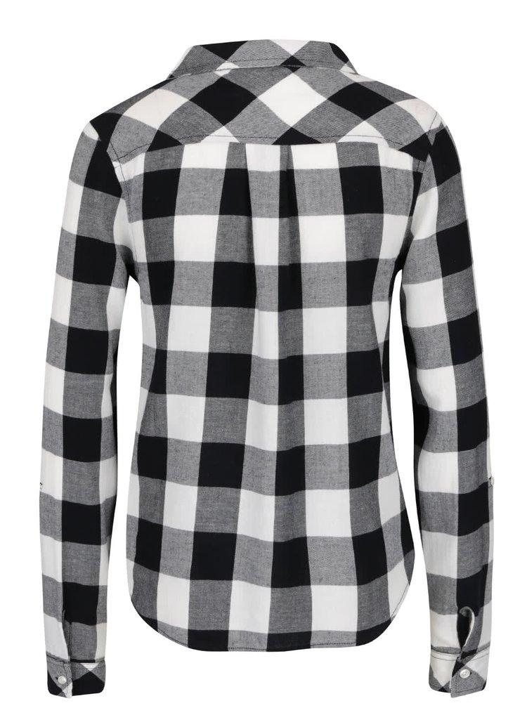 Černo-bílá kostkovaná košile se šněrováním TALLY WEiJL