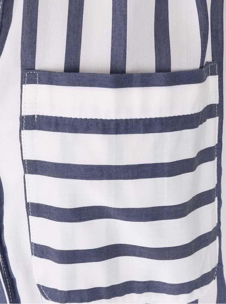 Modro-krémová pruhovaná halenka bez rukávů VERO MODA