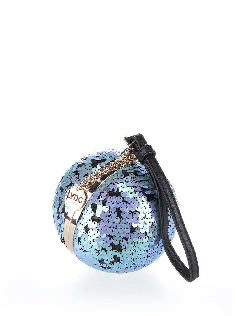 Čierno-modrá okrúhla malá kabelka s flitrami LYDC