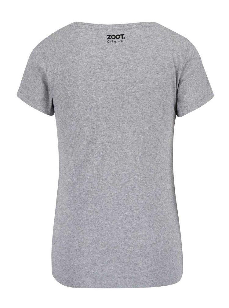 Světle šedé dámské tričko s černým nápisem ZOOT Originál Ahoj
