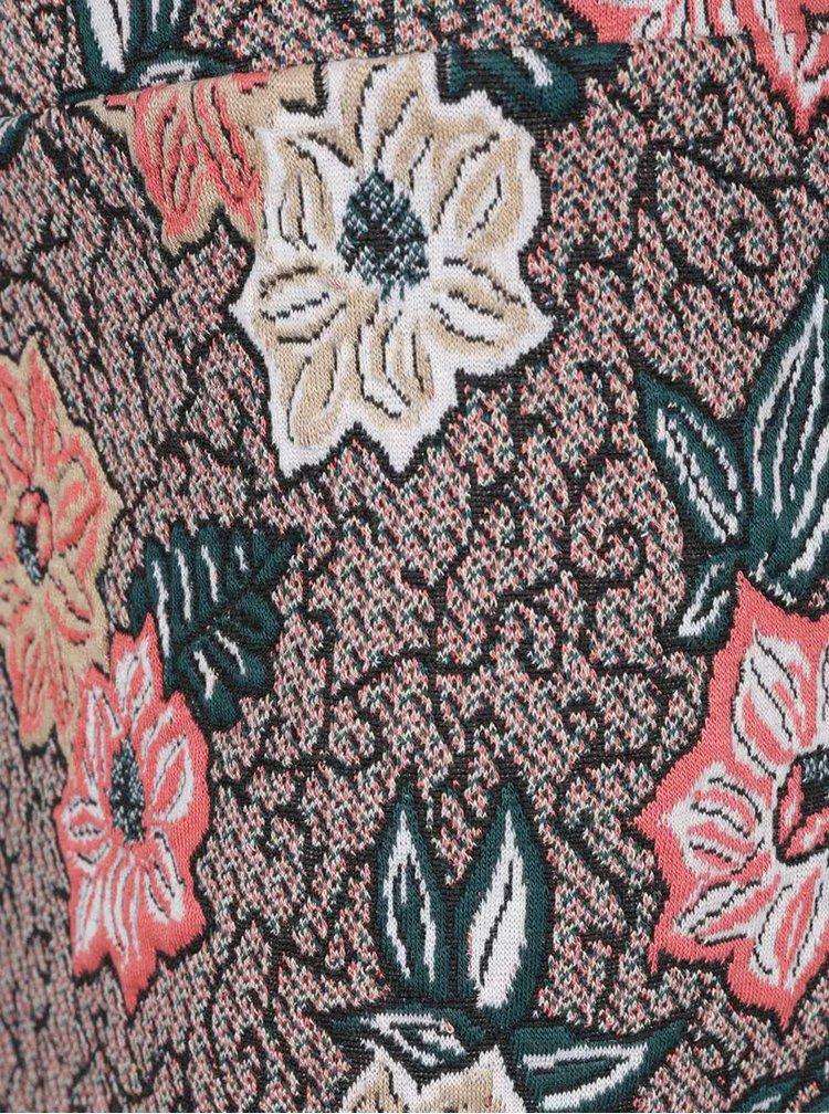 Zeleno-červená sukňa so vzorom kvetín VERO MODA Birsen