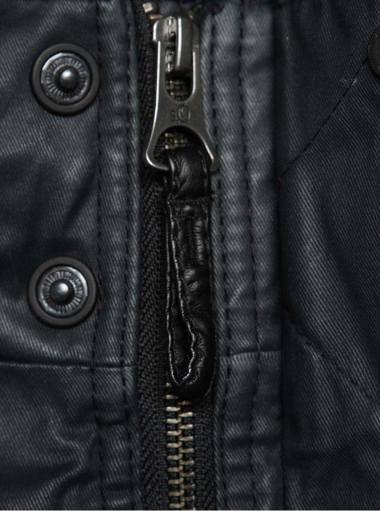 Tmavě šedá pánská lesklá bunda s umělou kožešinou s.Oliver
