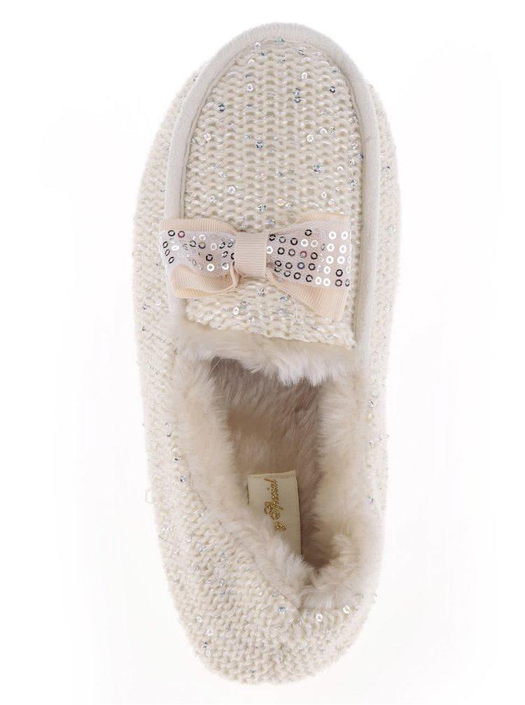 Krémové dámské papuče s flitry Something Special