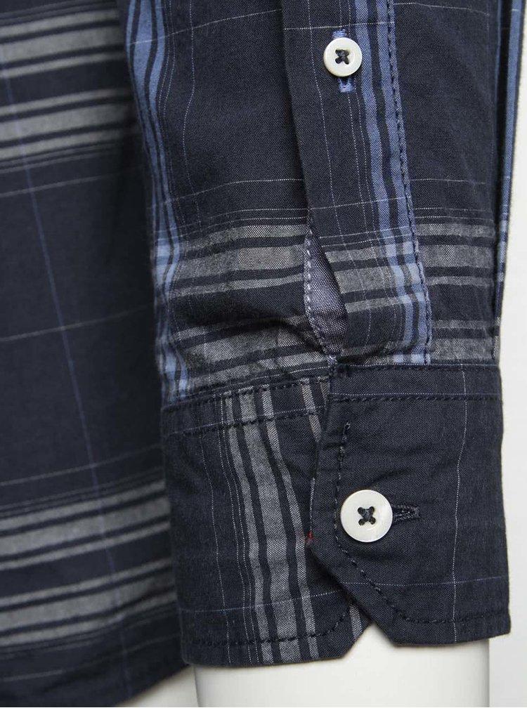 Šedo-modrá kostkovaná pánská košile s náprsními kapsami s.Oliver