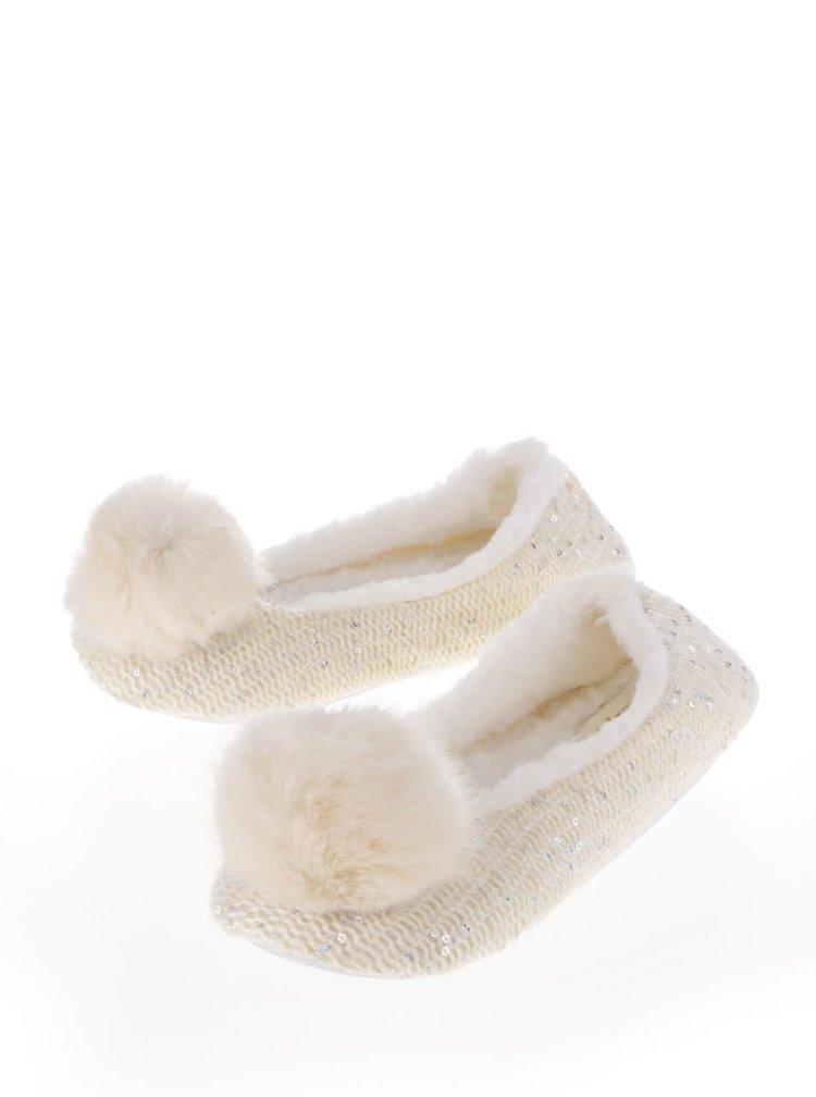 Krémové papuče s bambulí Something Special