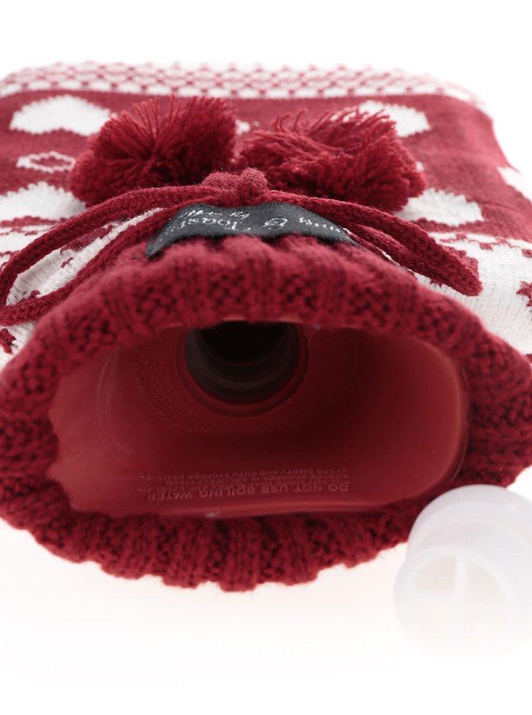 Krémovo-červená vzorovaná pletená hrejivá fľaša na vodu Something Special