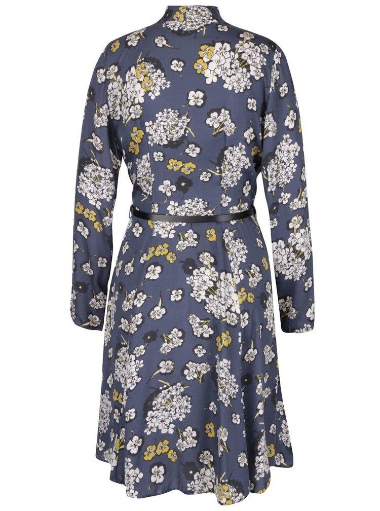 Modré šaty s květovaným vzorem a vázankou Closet