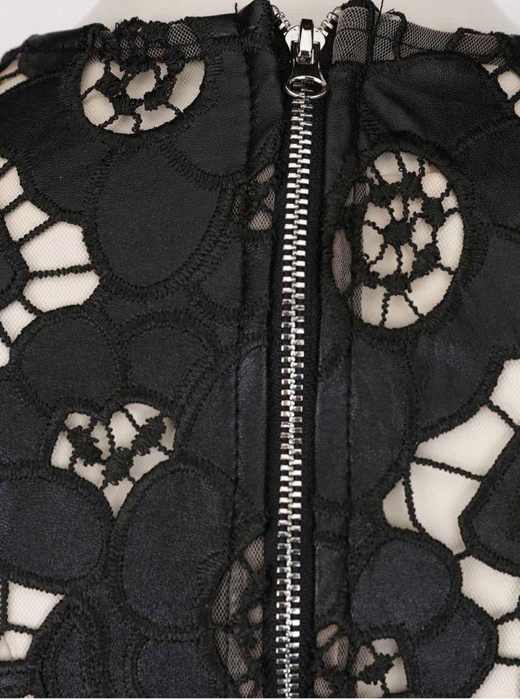 Rochie neagra din dantela Little Mistress cu maneci trei sferturi