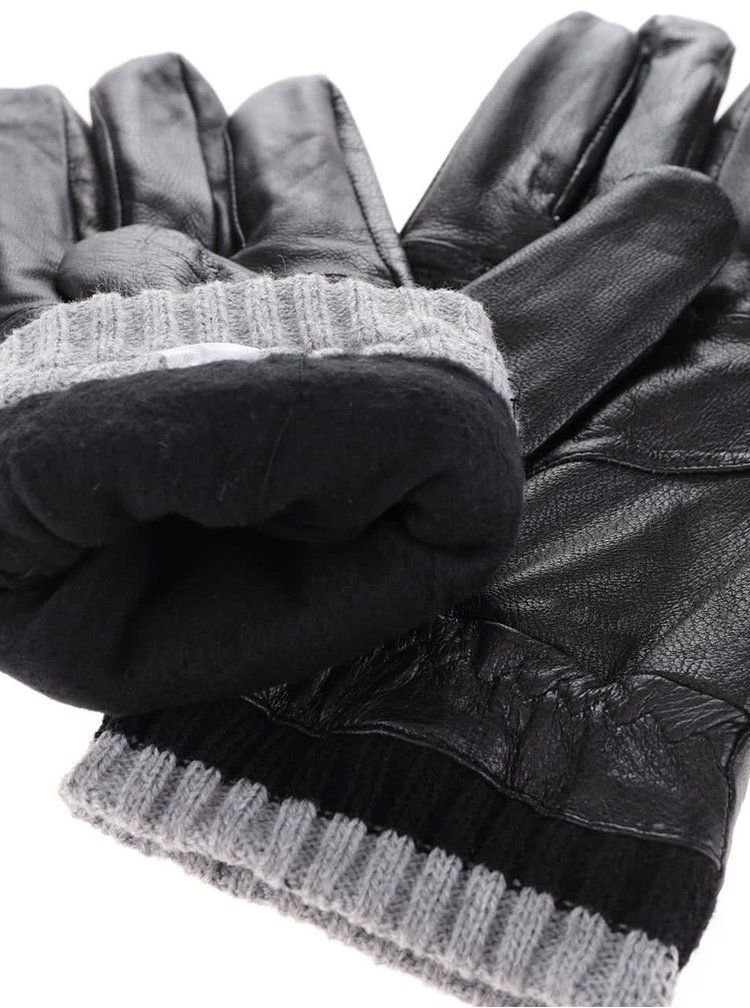 Mănuși negre Portland din piele