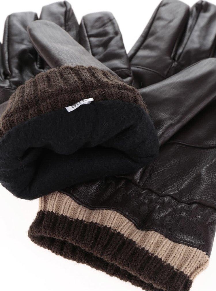 Hnědé pánské kožené rukavice s úpletem v dárkové krabičce Portland