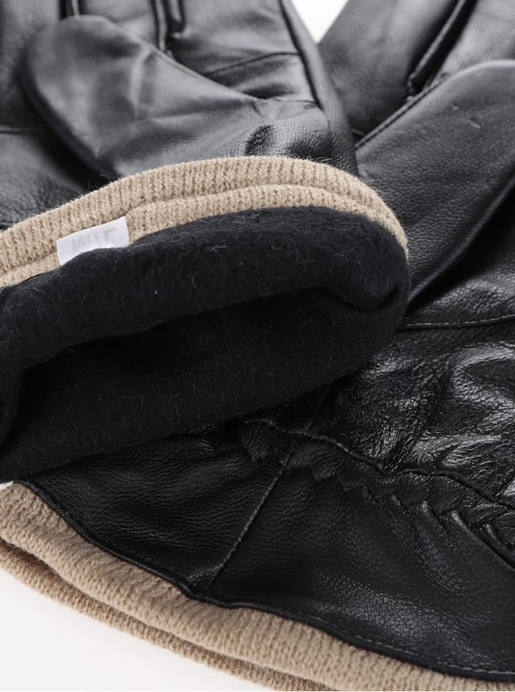 Set fular și mănuși negre Something Special în dungi