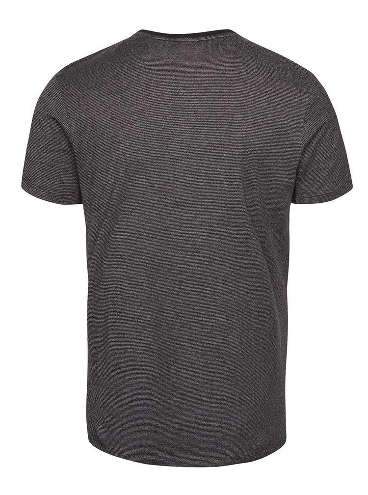 Šedé pruhované pánské triko s krátkým rukávem s.Oliver