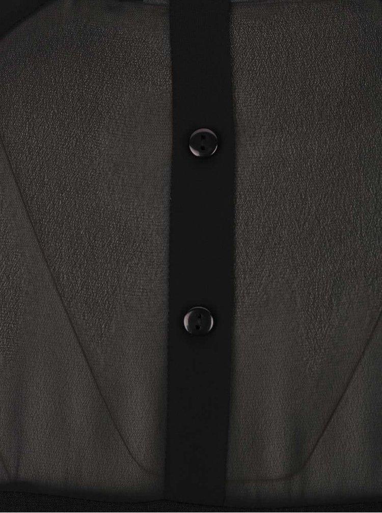 Čierne voľnejšie šaty s priesvitnými 3/4 rukávmi ONLY Turner