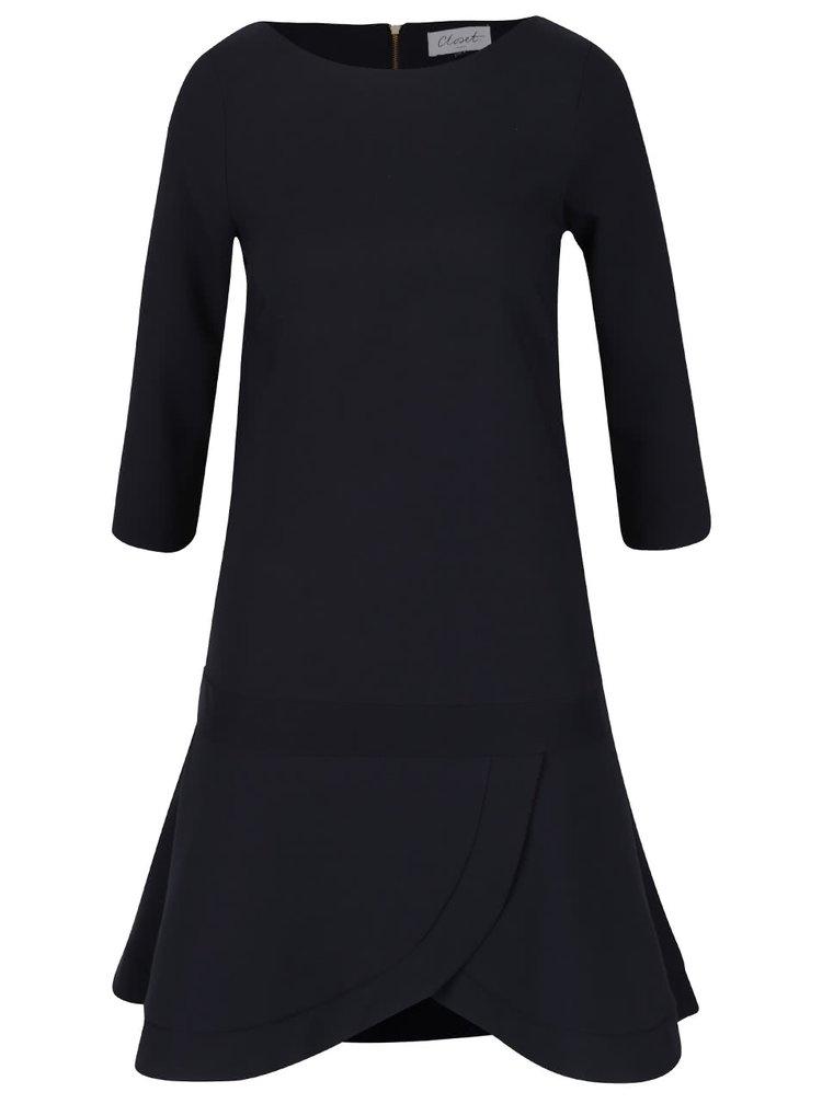 Tmavě modré šaty s 3/4 rukávem Closet