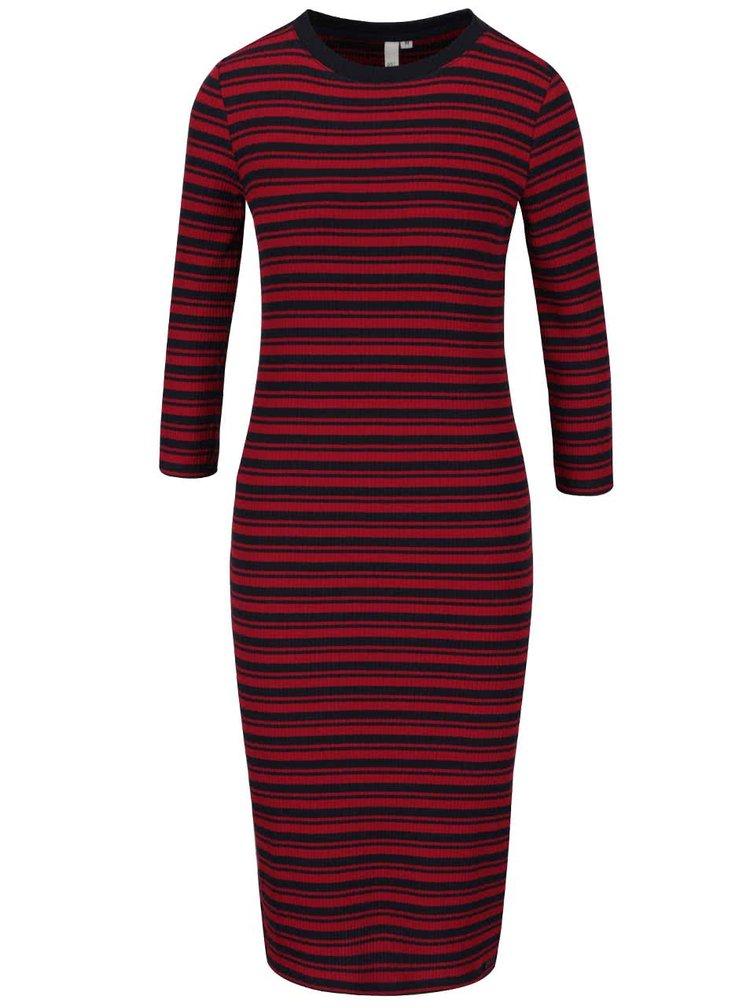 Modro-vínové žebrované pruhované šaty s 3/4 rukávy s.Oliver